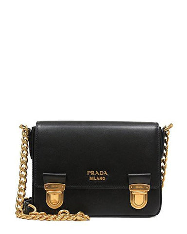 21483d66e490 ... bag in black color features gold tone chain shoulder strap and hardware  that adds to the look of this classy bag. It is crafted from soft leather  ...