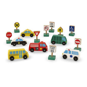 Melissa & Doug, Wooden Vehicles and Traffic Signs, Toys