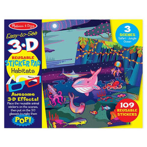 Melissa & Doug, Melissa & Doug - Easy-to-See 3-D Reusable Sticker Pad, Habitats, Toys