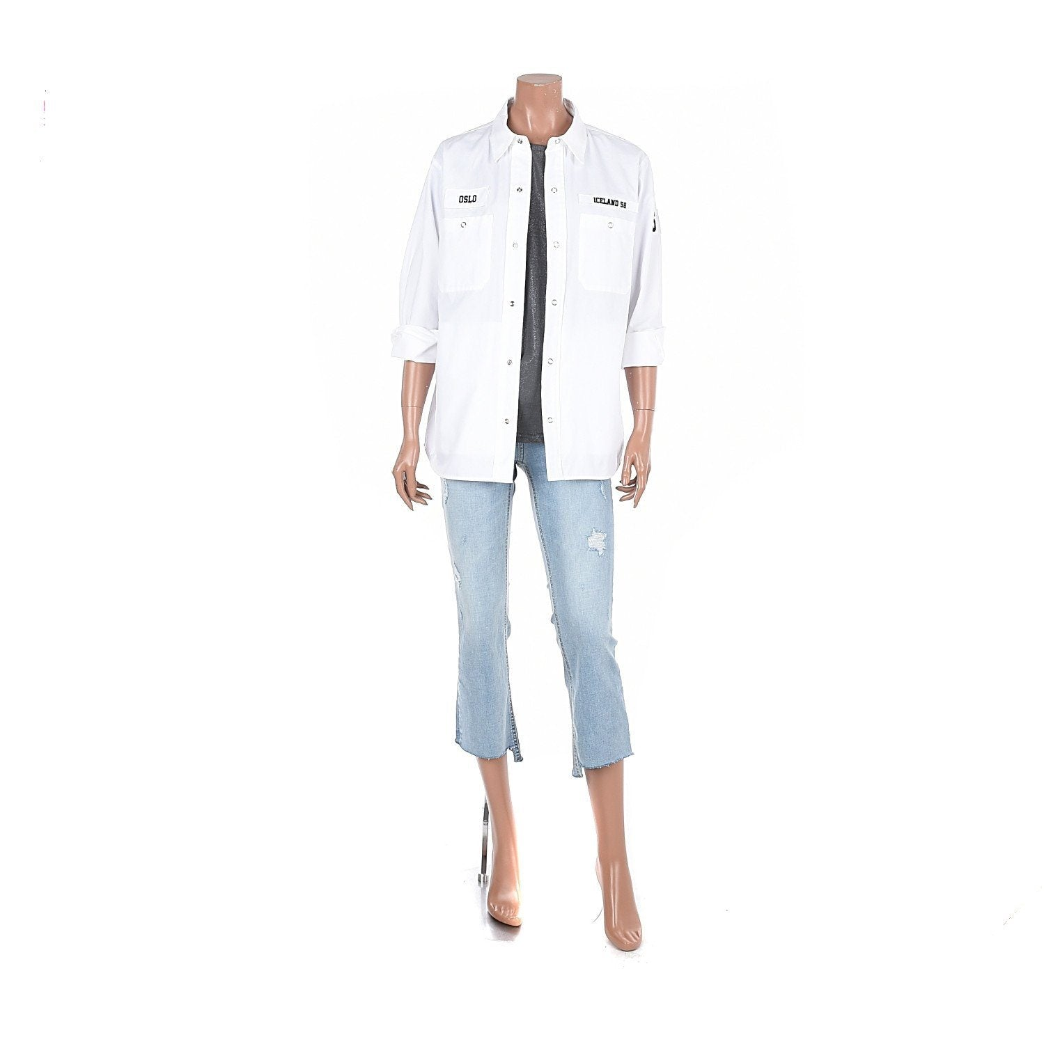 --Siero Wear, Wappen detail jacket style Shirt, women clothes--