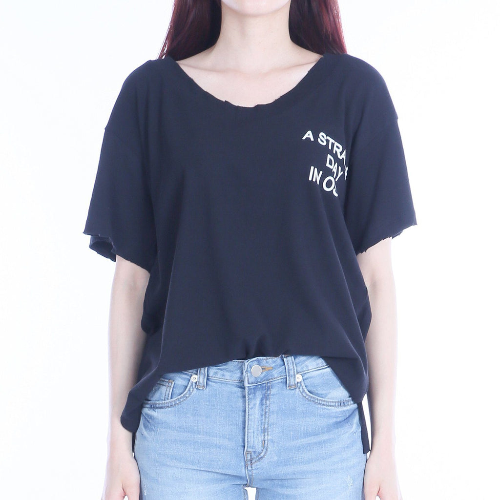 --Siero Wear, U-neck print Short sleeve T-shirt, women clothes--