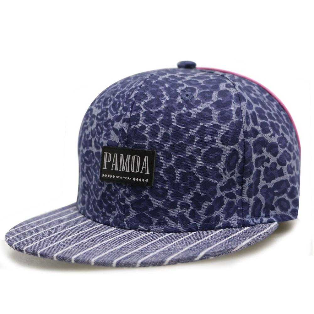 --Pamoa, Pamoa Pmcf520 Stripe Leopard Snapback with leather Patch, Accessories--