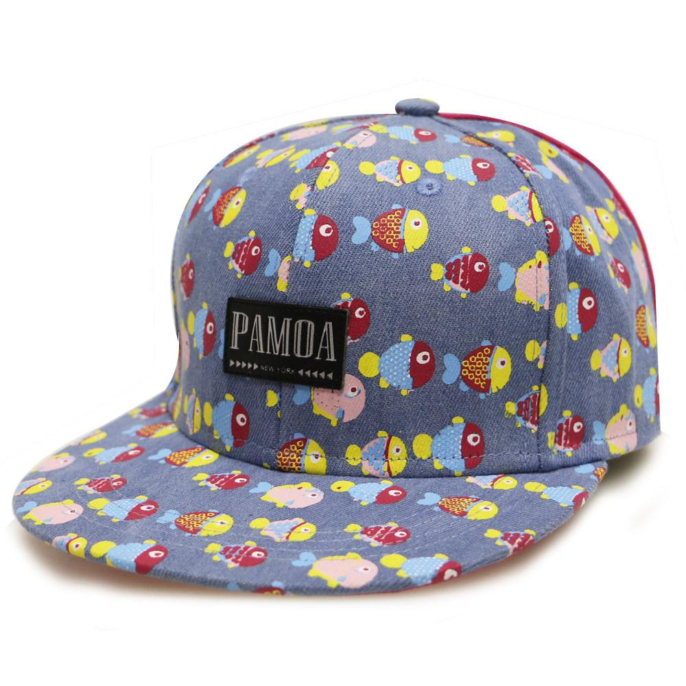 --Pamoa, Pamoa Pmcf620 Fish Pattern Denim Snapback, Accessories--