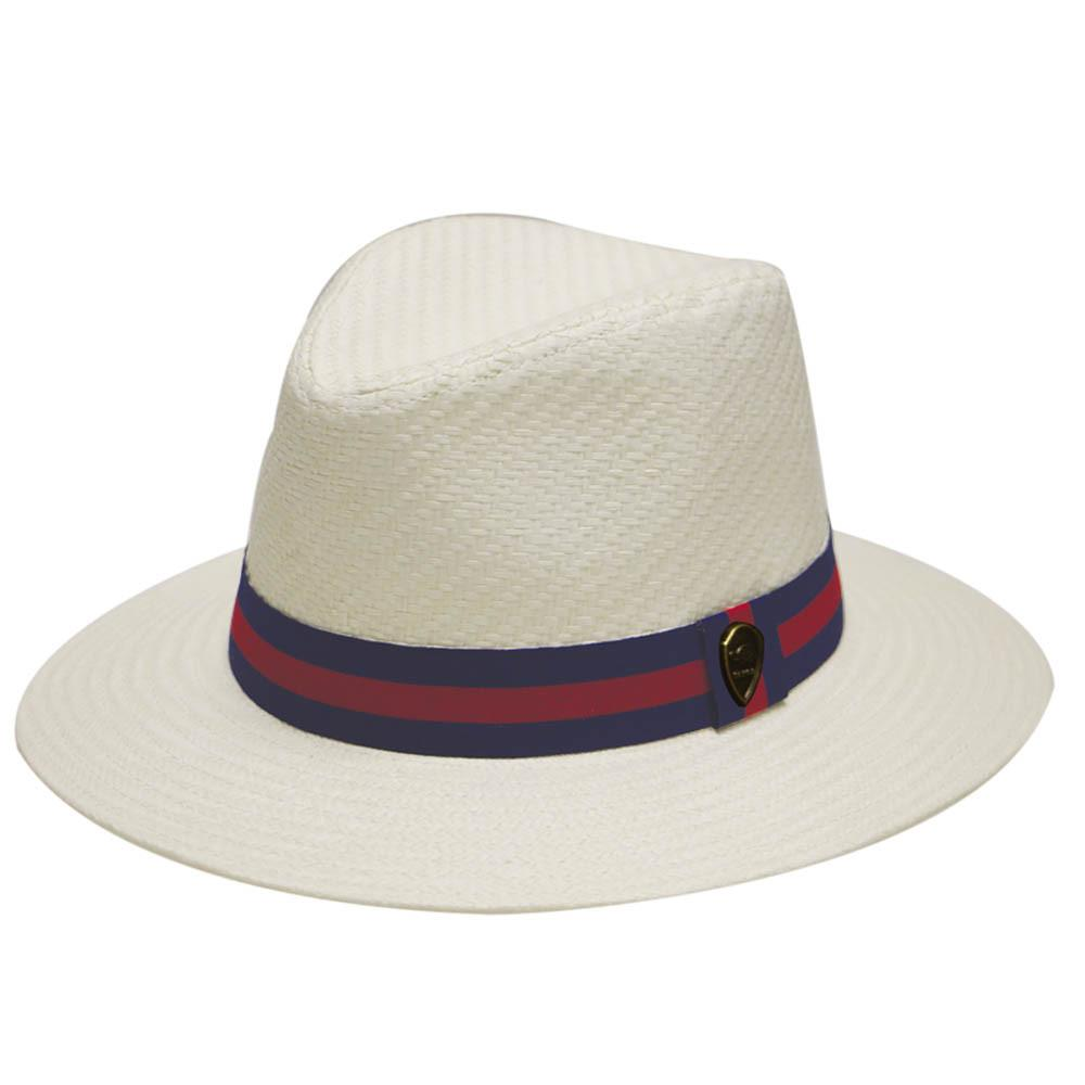 --Pamoa, Pamoa Pms480 Wide Brim Straw Fedora Hat with Band, Accessories--