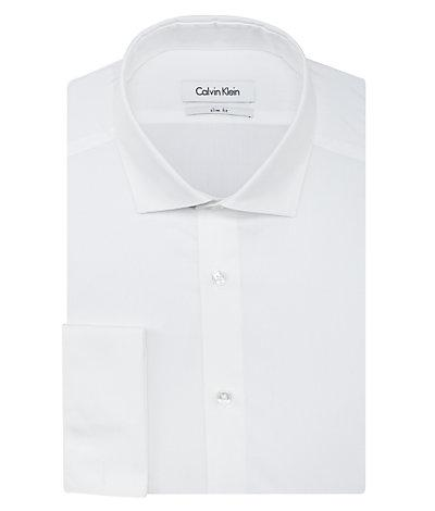 --Calvin Klein, Calvin Klein Slim Fit Poplin Solid French Cuff White, MEN'S LS SHIRT--