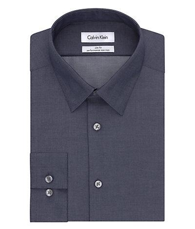 --Calvin Klein, Calvin Klein Steel Slim Fit Non Iron Broadcloth Solid Smokey Blue, MEN'S LS SHIRT--