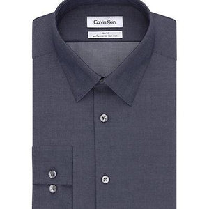 Calvin Klein, Calvin Klein Steel Slim Fit Non Iron Broadcloth Solid Smokey Blue, MEN'S LS SHIRT