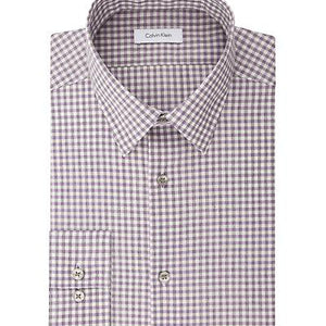 Calvin Klein, Calvin Klein Steel Slim Non Iron Broadcloth Check, MEN'S LS SHIRT