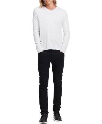 Calvin Klein, Calvin Klein Long Sleeve Ribbed V-Neck T Shirt White,