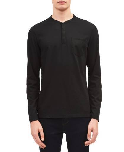 --Calvin Klein, Calvin Klein Classic Fit Solid Pocket Henley Black Combo, --