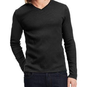 Calvin Klein, Calvin Klein Long Sleeve Ribbed V-Neck T Shirt Black,