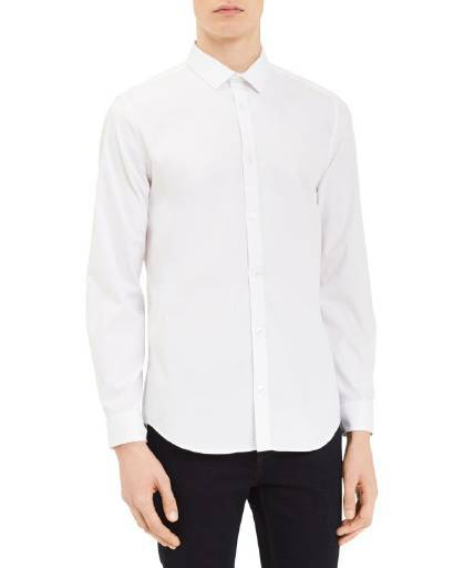 Calvin Klein Men's Infinite Cool Solid Button Down Shirt White
