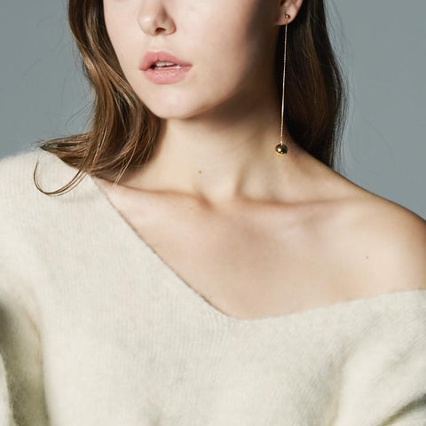 MZUU, Full Moon wavy drop single earring, Accessories