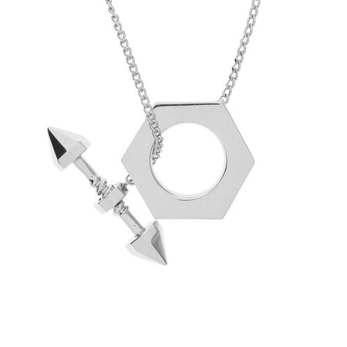 arrow bolt and hex necklace