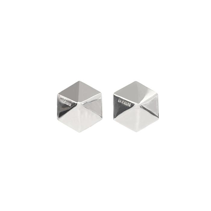 MZUU, silver hex low pyramid earrings, Accessories