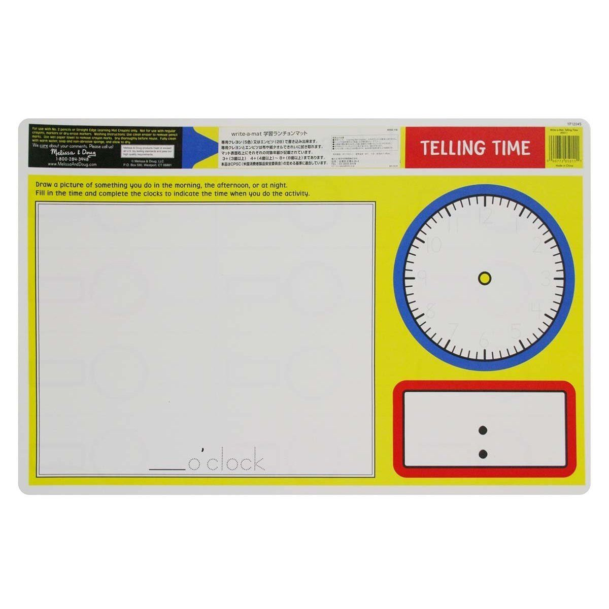 Melissa & Doug - Telling Time Write-A-Mat