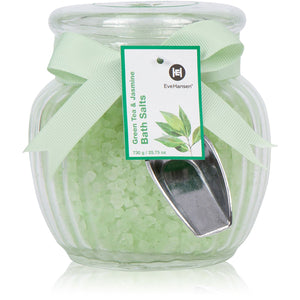 Natural Bath Salts by Eve Hansen in Green Tea and Jasmine Scent.