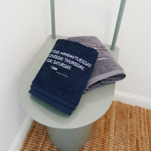 I hate Monday, Grey/Navy Towel SET, Accessories