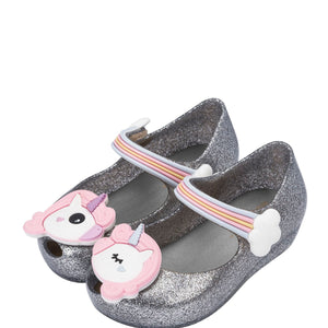 Mini Melissa Ultragirl Unicorn Mary Jane Flat, Toddler -Black