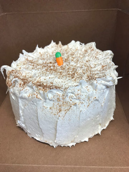 "Carrot Cake 8"" Round 3 Vegan Free or Gluten Free or Regular"