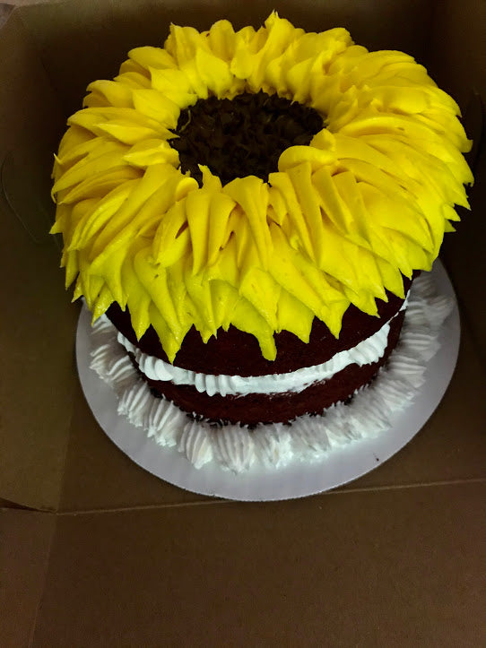 Red Velvet Sunflower Cake - Vegan, GF, SF, DF, and GFDF