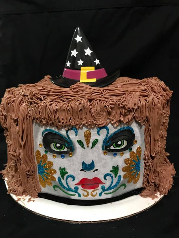 Witch Face Halloween Cake