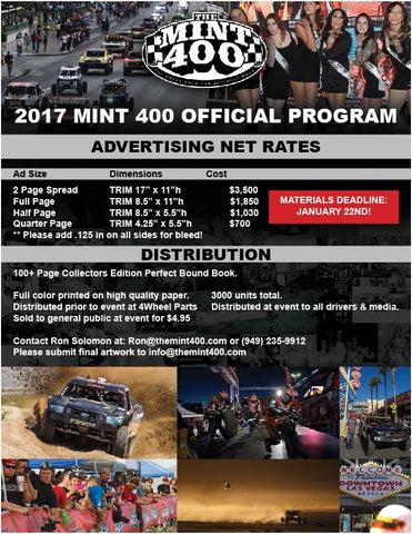 2017 Mint 400 Program Advertisement