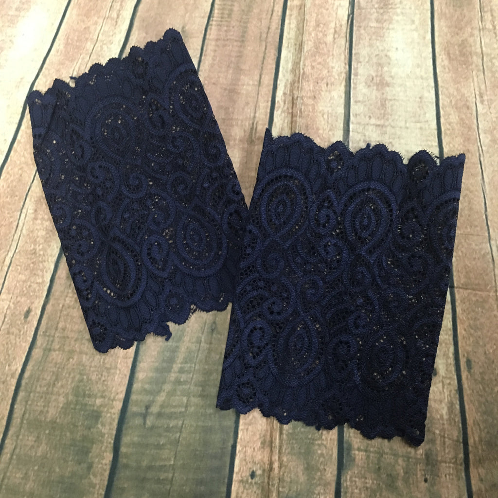 Lace Boot Cuff: Navy