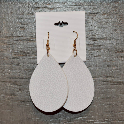 Leather Teardrop Earring: White
