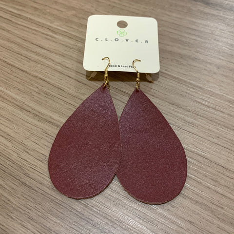 Leather Teardrop Earring: burgundy