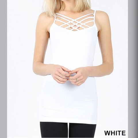 Now Criss Cross Tank: White