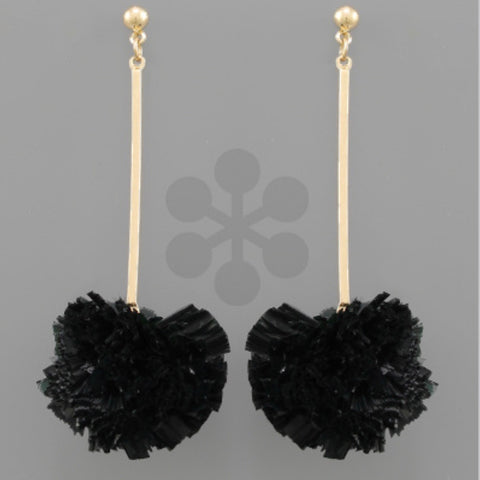 Raffia Ball & Bar Earrings: Black