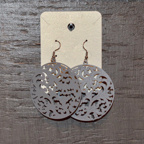 Laser Cutout Earring: Gray