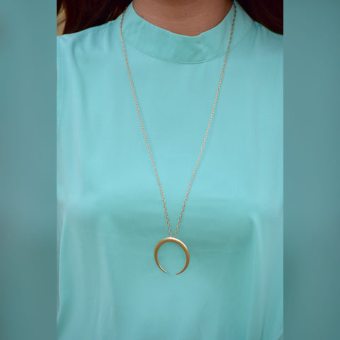 Gold Bull Horn Necklace