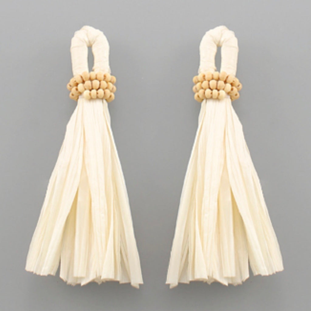 Raffia Tassel Earrings: Ivory