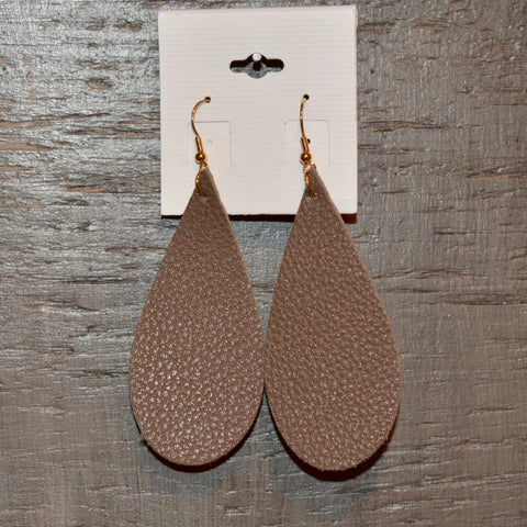 Leather Teardrop Earring: Dark Khaki/Brown