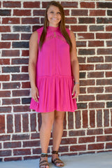 Lace is Love Dress: Hot Pink