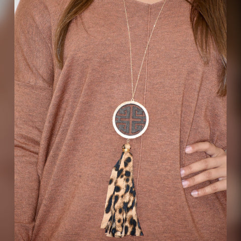 Leopard Tassel Necklace: Dark Brown