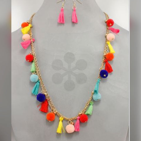 Multi Color Tassel & Pom Pom Necklace Set