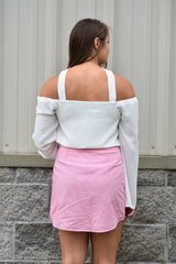 Right on Time Skirt: Pink/White