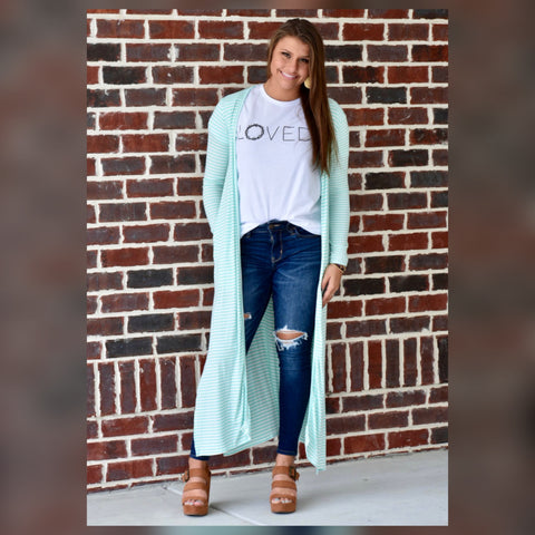 All Eyes on Her Maxi Cardigan: Mint/Ivory