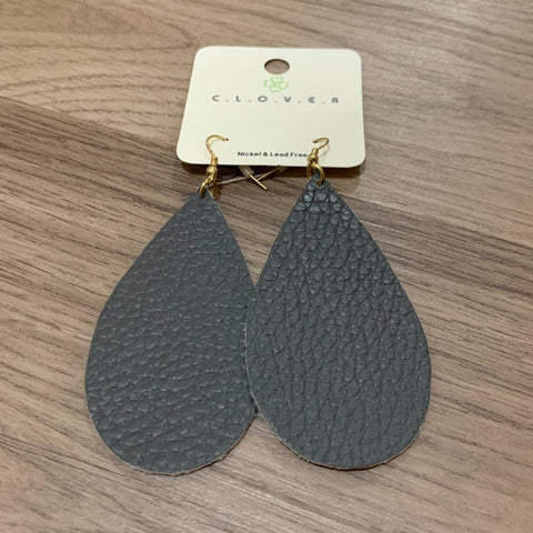 Leather Teardrop Earring: Gray