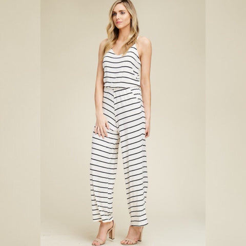 All the Stripe Moves Jumpsuit: Ivory/Black