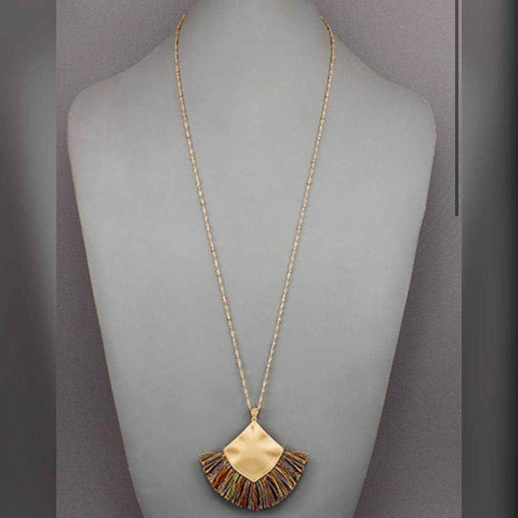 Square Tassel Necklace: Multi