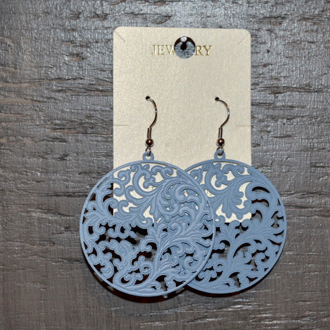 Laser Cutout Earring: Blue Gray