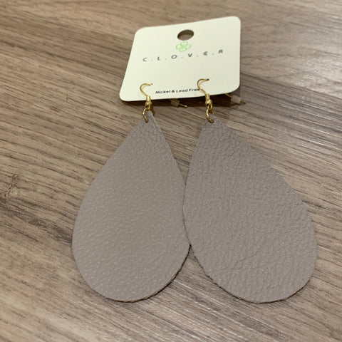 Leather Teardrop Earring: Taupe