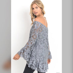 Any Time Any Lace Top: Gray