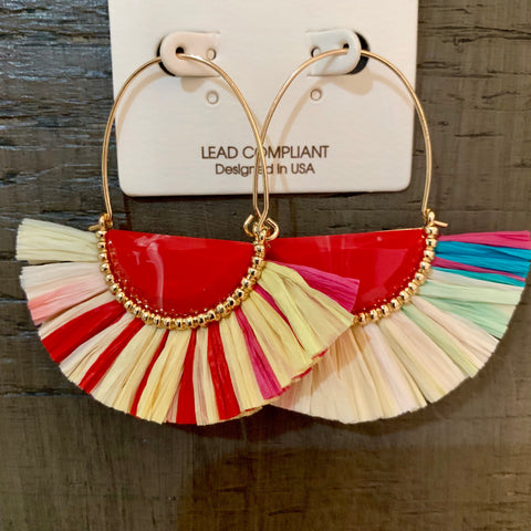 Wedge Raffia Fan Hoops