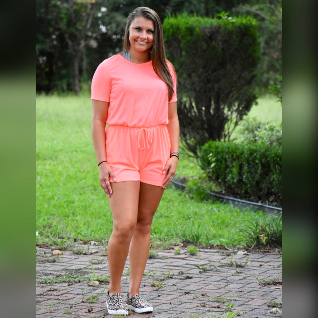 Let's Hang Out Romper: Neon Coral