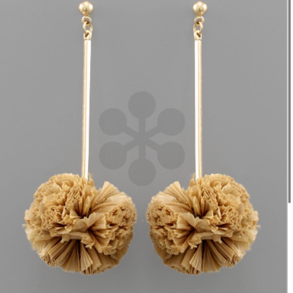 Raffia Ball & Bar Earrings: Tan